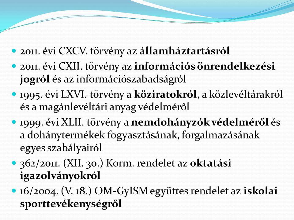  2011. évi CXCV. törvény az államháztartásról  2011. évi CXII. törvény az információs önrendelkezési jogról és az információszabadságról  1995. évi