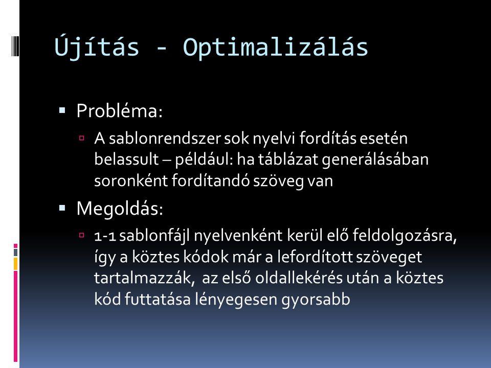 Újítás - Optimalizálás  Probléma:  A sablonrendszer sok nyelvi fordítás esetén belassult – például: ha táblázat generálásában soronként fordítandó s
