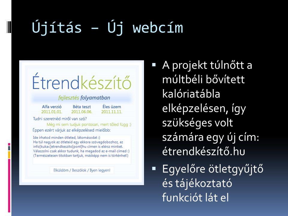 Újítás – Új webcím  A projekt túlnőtt a múltbéli bővített kalóriatábla elképzelésen, így szükséges volt számára egy új cím: étrendkészítő.hu  Egyelő