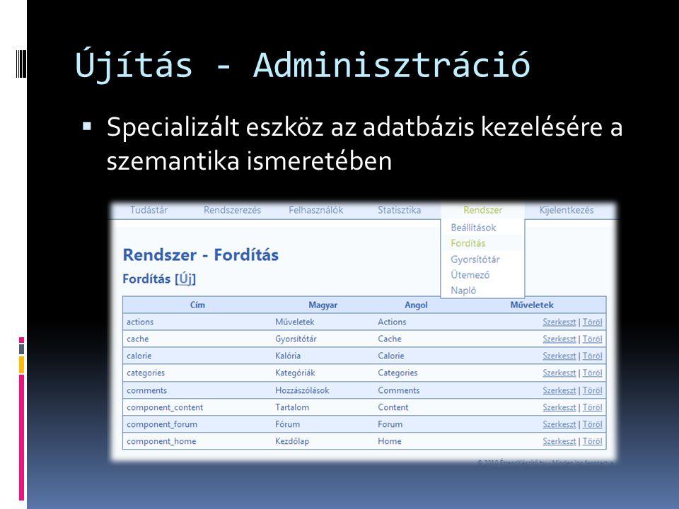 Újítás - Adminisztráció  Specializált eszköz az adatbázis kezelésére a szemantika ismeretében