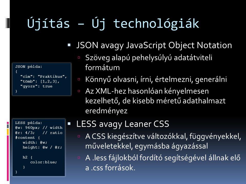 Újítás – Új technológiák  JSON avagy JavaScript Object Notation  Szöveg alapú pehelysúlyú adatátviteli formátum  Könnyű olvasni, írni, értelmezni,