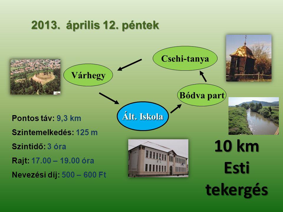 2013. április 12. péntek Csehi-tanya Várhegy Bódva part Pontos táv: 9,3 km Szintemelkedés: 125 m Szintidő: 3 óra Rajt: 17.00 – 19.00 óra Nevezési díj: