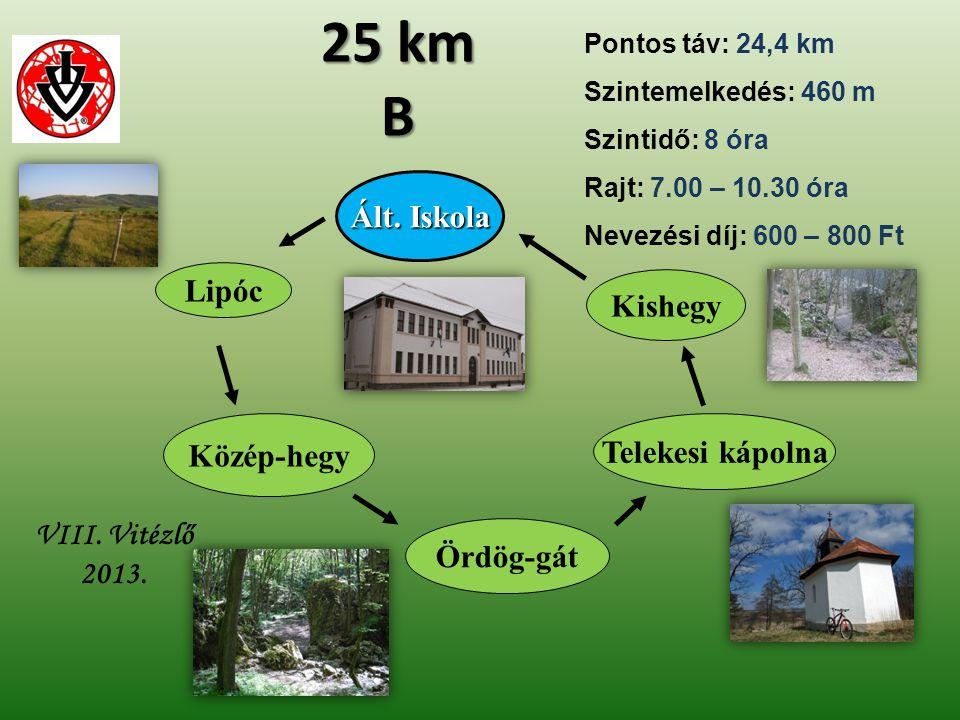 Ált. Iskola VIII. Vitézlő 2013. 25 km B Telekesi kápolna Kishegy Lipóc Ördög-gát Közép-hegy Pontos táv: 24,4 km Szintemelkedés: 460 m Szintidő: 8 óra