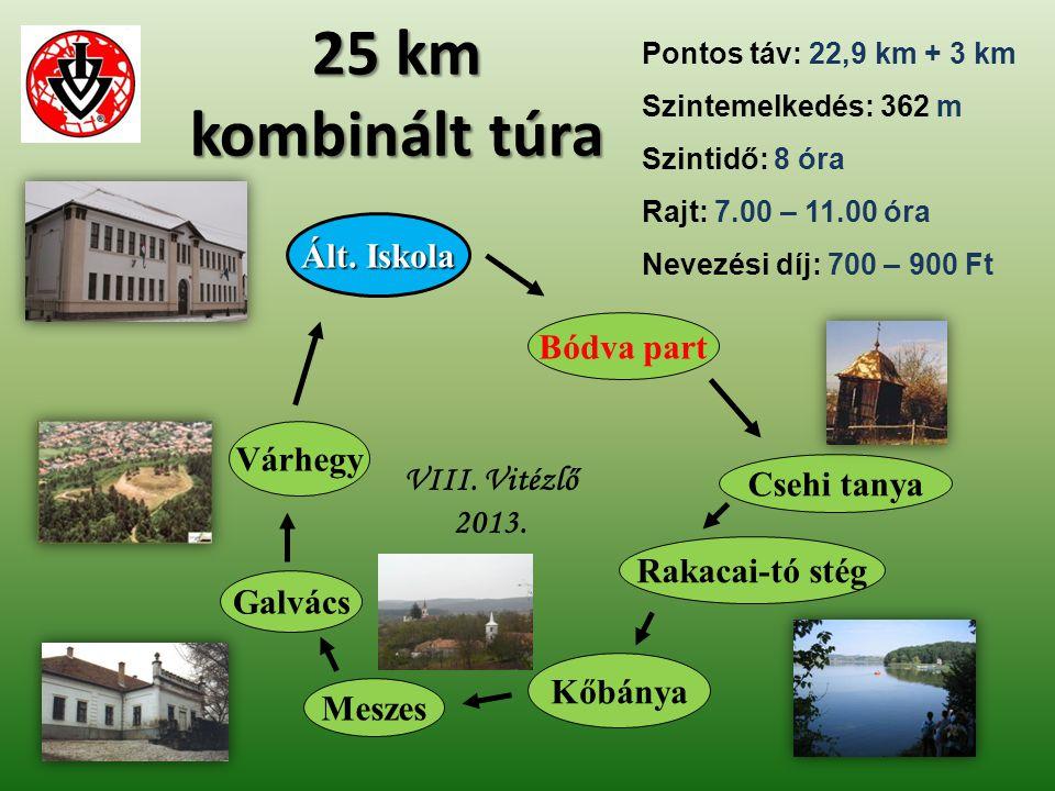 Galvács Rakacai-tó stég Ált. Iskola VIII. Vitézlő 2013. 25 km kombinált túra Csehi tanya Várhegy Kőbánya Meszes Bódva part Pontos táv: 22,9 km + 3 km