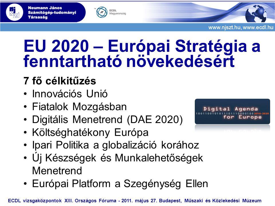 www.njszt.hu, www.ecdl.hu ECDL vizsgaközpontok XIII. Országos Fóruma - 2011. május 27. Budapest, Műszaki és Közlekedési Múzeum EU 2020 – Európai Strat