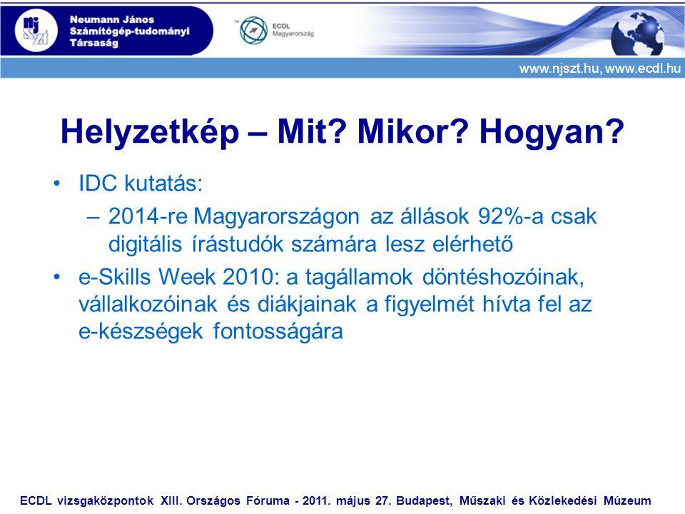 www.njszt.hu, www.ecdl.hu ECDL vizsgaközpontok XIII. Országos Fóruma - 2011. május 27. Budapest, Műszaki és Közlekedési Múzeum Helyzetkép – Mit? Mikor