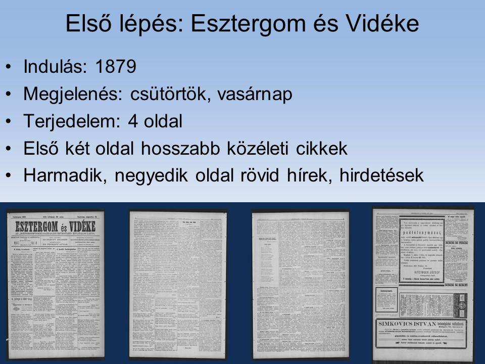 Első lépés: Esztergom és Vidéke •Indulás: 1879 •Megjelenés: csütörtök, vasárnap •Terjedelem: 4 oldal •Első két oldal hosszabb közéleti cikkek •Harmadi