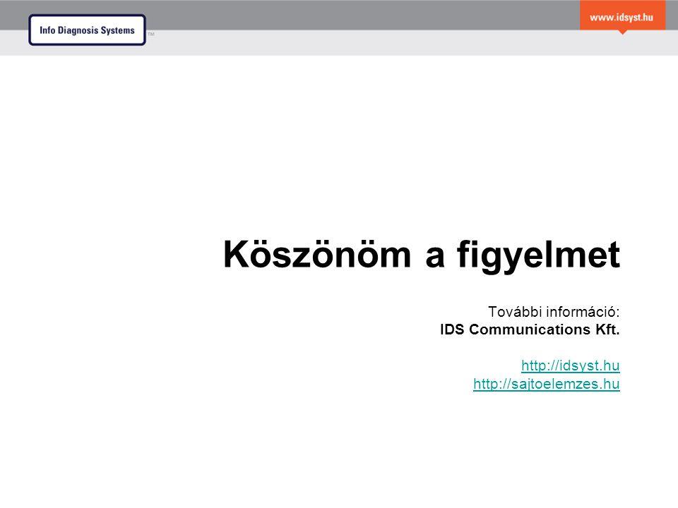 Köszönöm a figyelmet További információ: IDS Communications Kft. http://idsyst.hu http://sajtoelemzes.hu