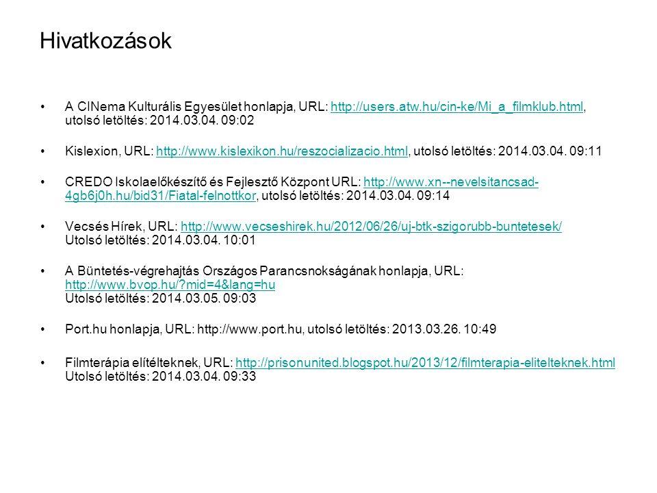 Hivatkozások •A CINema Kulturális Egyesület honlapja, URL: http://users.atw.hu/cin-ke/Mi_a_filmklub.html, utolsó letöltés: 2014.03.04. 09:02http://use