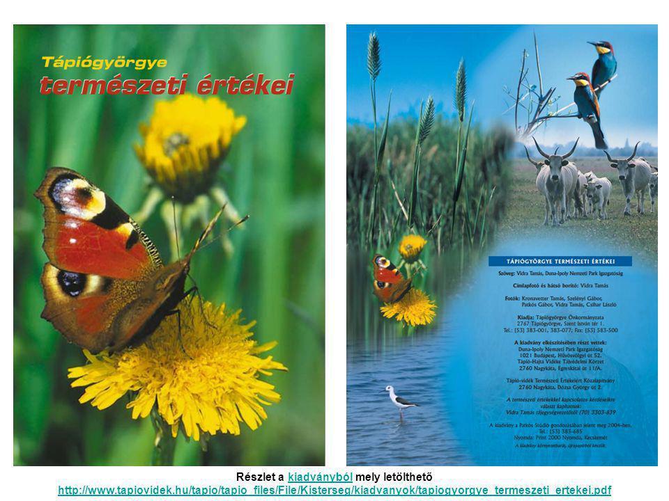 Részlet a kiadványból mely letölthető http://www.tapiovidek.hu/tapio/tapio_files/File/Kisterseg/kiadvanyok/tapiogyorgye_termeszeti_ertekei.pdfkiadványból http://www.tapiovidek.hu/tapio/tapio_files/File/Kisterseg/kiadvanyok/tapiogyorgye_termeszeti_ertekei.pdf