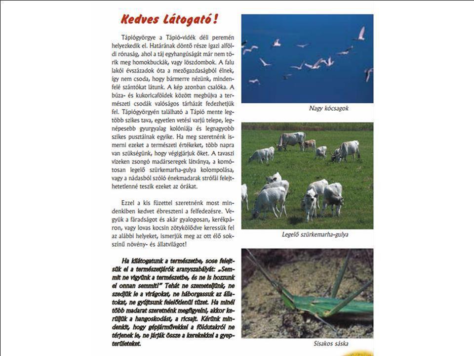 Részlet a kiadványból mely letölthető http://www.tapiovidek.hu/tapio/tapio_files/File/Kisterseg/kiadvanyok/tapiogyorgye_termeszeti_ertekei.pdfkiadvány