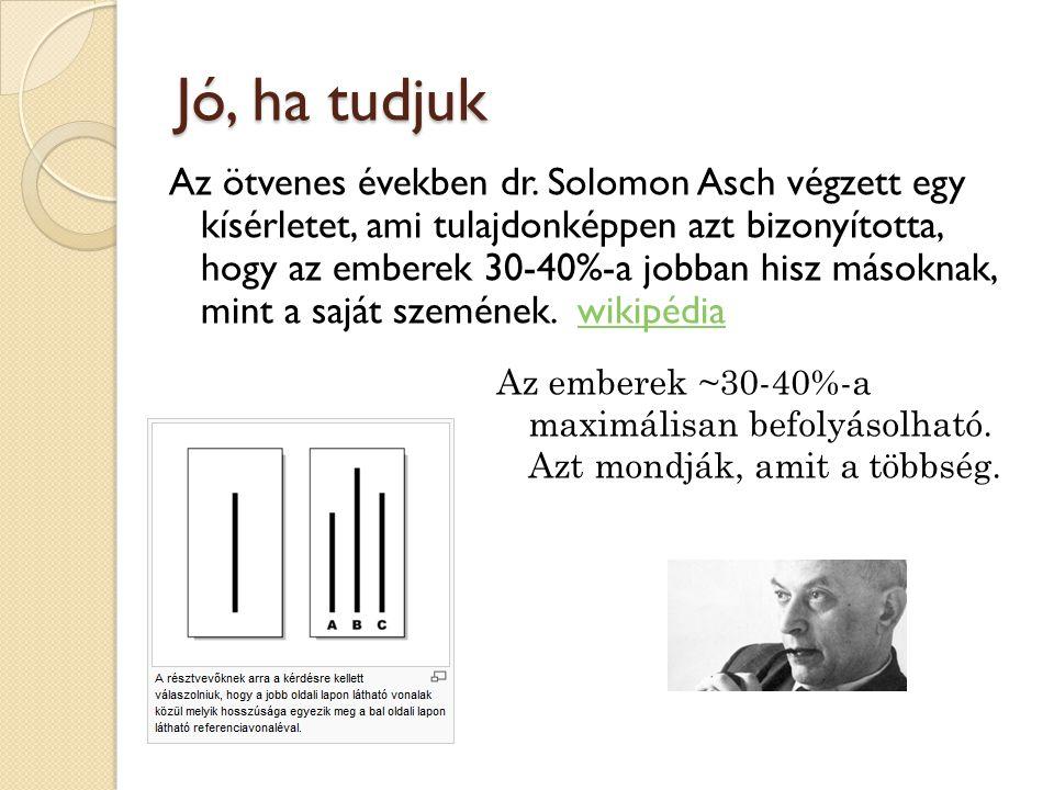 Asch jelenség hazánkban manapság Az emberek ~30-40%-a azt mondja (gondolja), amit sugallanak neki.