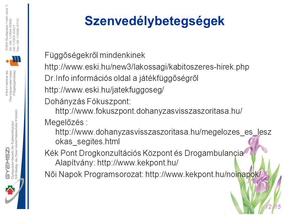 12 /15 Szenvedélybetegségek Függőségekről mindenkinek http://www.eski.hu/new3/lakossagi/kabitoszeres-hirek.php Dr.Info információs oldal a játékfüggős