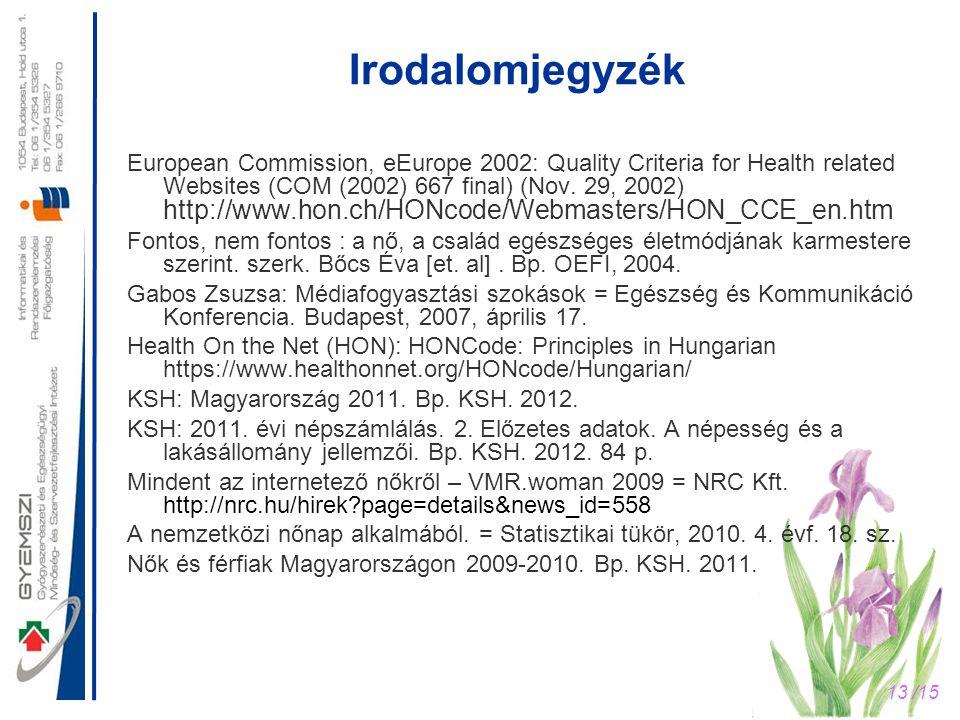 13 /15 Irodalomjegyzék European Commission, eEurope 2002: Quality Criteria for Health related Websites (COM (2002) 667 final) (Nov. 29, 2002) http://w