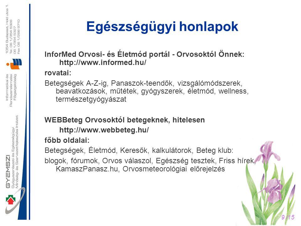 9 /15 Egészségügyi honlapok InforMed Orvosi- és Életmód portál - Orvosoktól Önnek: http://www.informed.hu/ rovatai: Betegségek A-Z-ig, Panaszok-teendő