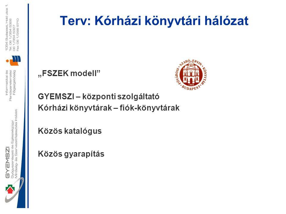 """Terv: Kórházi könyvtári hálózat """"FSZEK modell"""" GYEMSZI – központi szolgáltató Kórházi könyvtárak – fiók-könyvtárak Közös katalógus Közös gyarapítás"""