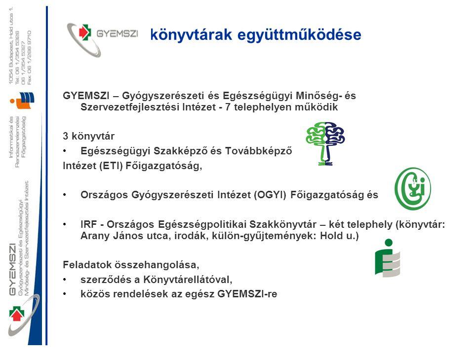 könyvtárak együttműködése GYEMSZI – Gyógyszerészeti és Egészségügyi Minőség- és Szervezetfejlesztési Intézet - 7 telephelyen működik 3 könyvtár • Egés