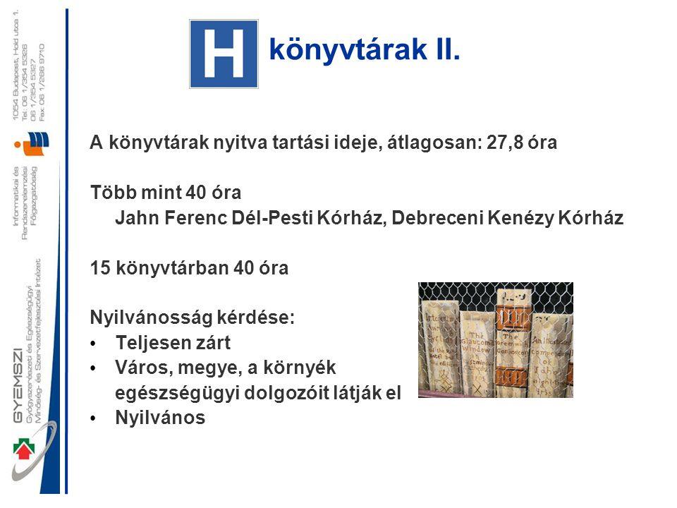 könyvtárak II. A könyvtárak nyitva tartási ideje, átlagosan: 27,8 óra Több mint 40 óra Jahn Ferenc Dél-Pesti Kórház, Debreceni Kenézy Kórház 15 könyvt