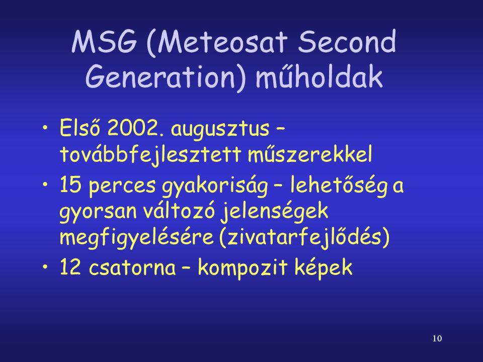 10 MSG (Meteosat Second Generation) műholdak •Első 2002.