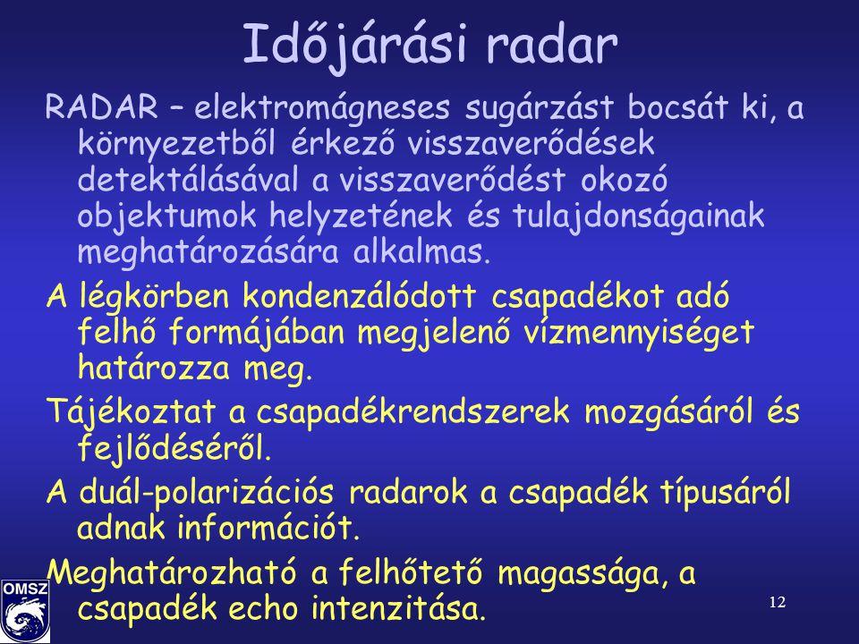 12 Időjárási radar RADAR – elektromágneses sugárzást bocsát ki, a környezetből érkező visszaverődések detektálásával a visszaverődést okozó objektumok helyzetének és tulajdonságainak meghatározására alkalmas.