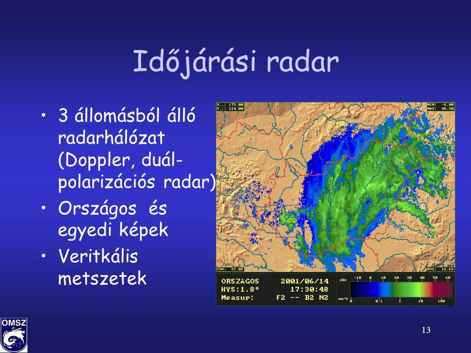 13 Időjárási radar •3 állomásból álló radarhálózat (Doppler, duál- polarizációs radar) •Országos és egyedi képek •Veritkális metszetek