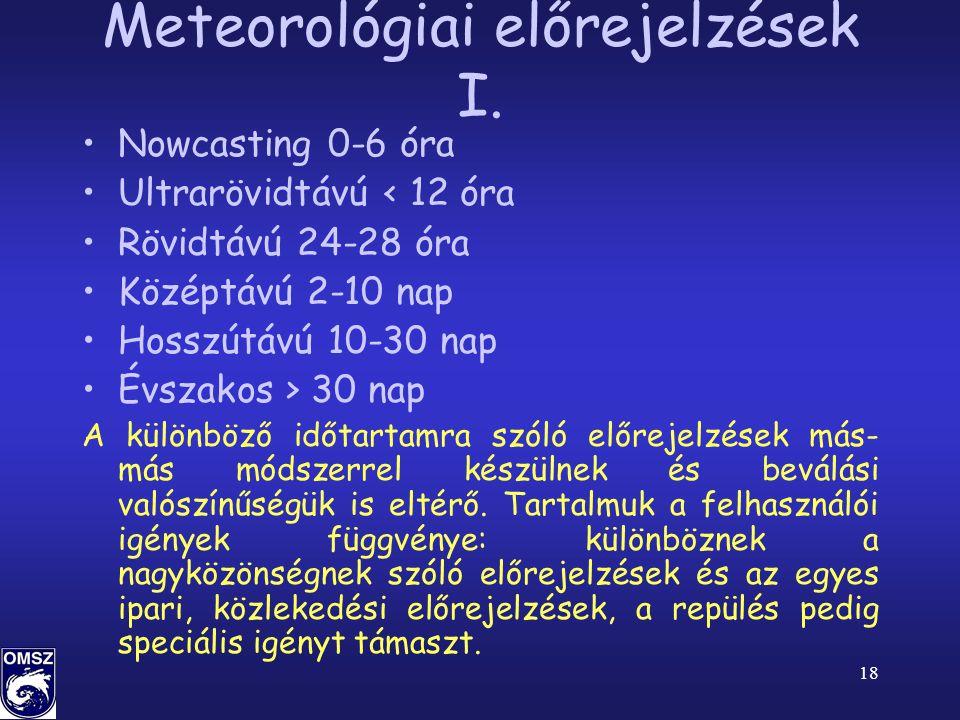 18 Meteorológiai előrejelzések I.