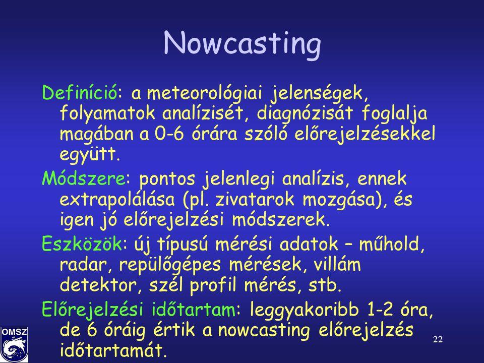 22 Nowcasting Definíció: a meteorológiai jelenségek, folyamatok analízisét, diagnózisát foglalja magában a 0-6 órára szóló előrejelzésekkel együtt.