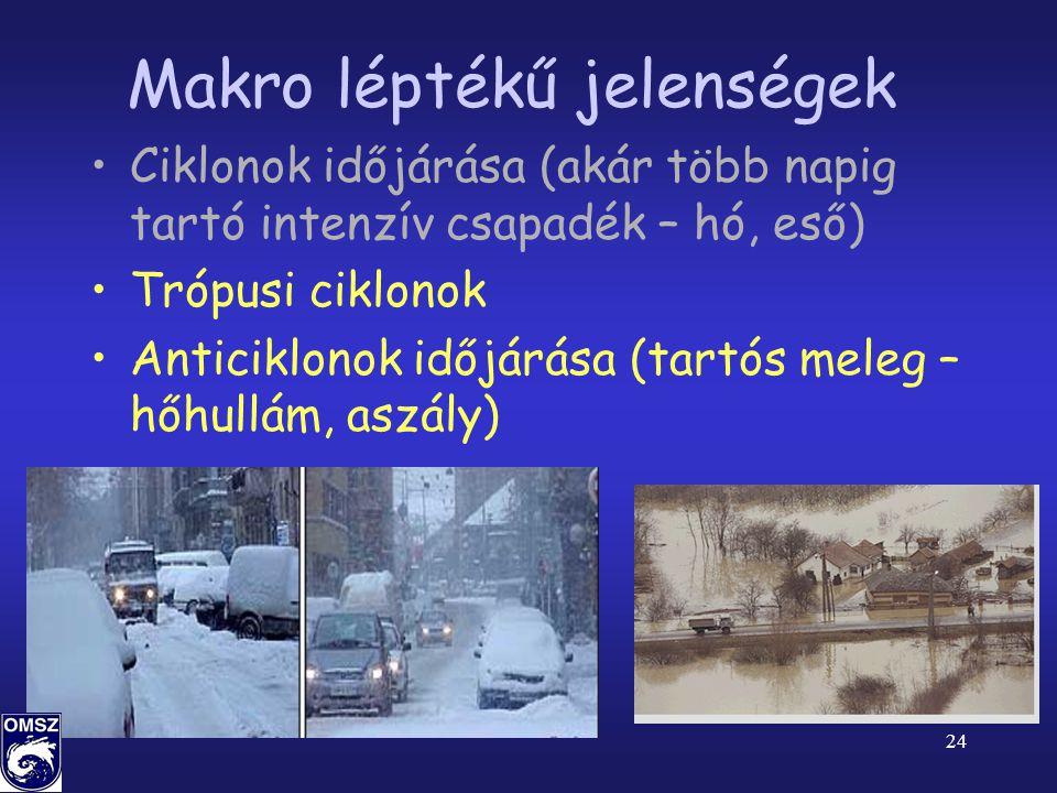 24 Makro léptékű jelenségek •Ciklonok időjárása (akár több napig tartó intenzív csapadék – hó, eső) •Trópusi ciklonok •Anticiklonok időjárása (tartós meleg – hőhullám, aszály)