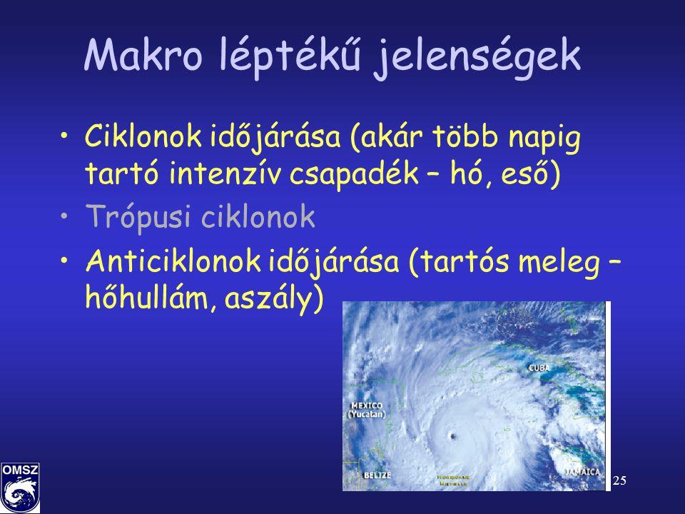 25 Makro léptékű jelenségek •Ciklonok időjárása (akár több napig tartó intenzív csapadék – hó, eső) •Trópusi ciklonok •Anticiklonok időjárása (tartós meleg – hőhullám, aszály)