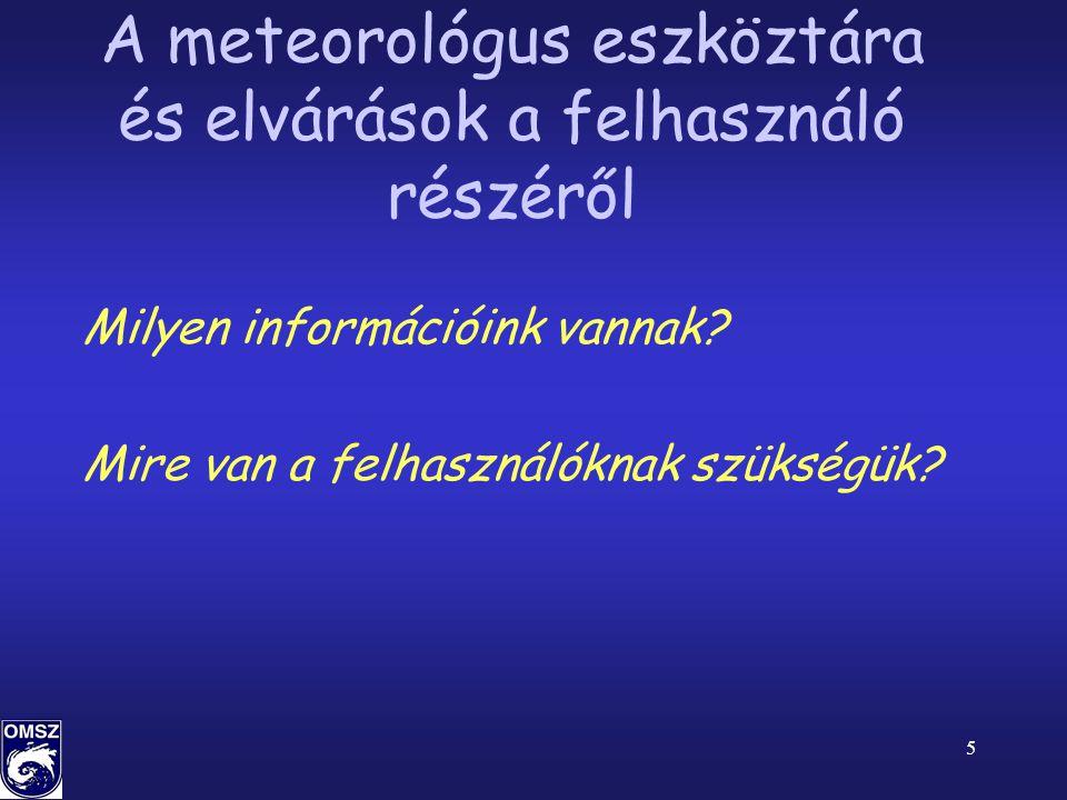 5 A meteorológus eszköztára és elvárások a felhasználó részéről Milyen információink vannak.