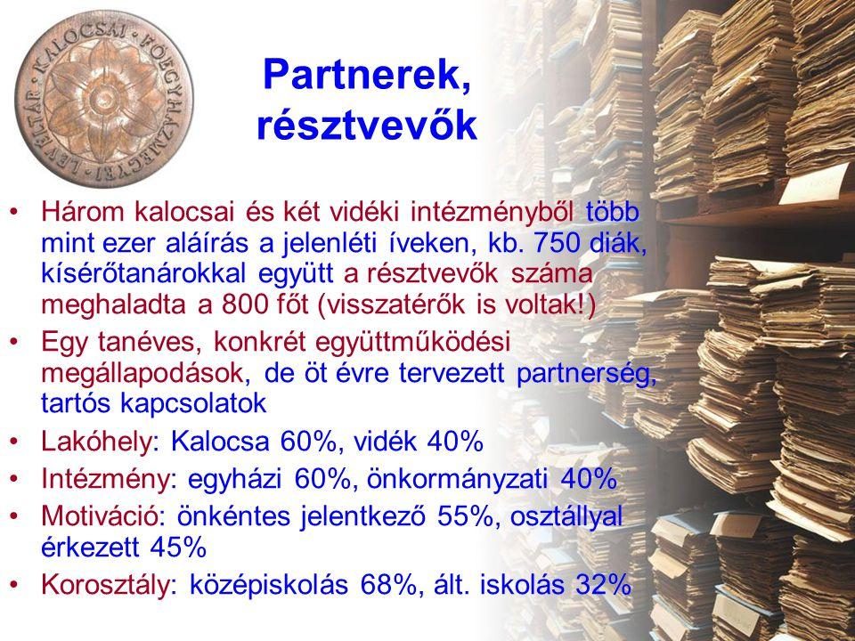"""Tartalom, foglalkozások •Foglalkozások 2011-2012-ben: 31 témanap (háromféle programmal, 10 szakköri foglalkozás, több mint 30 konzultáció és 60 internetes kutatás •TÉMANAPOK: négy tanórás foglalkozások, két óra konkrét tematikával, melyet két órás """"helytörténeti séta követ a gyűjteményi kiállítóterekben (Érseki Palota, Katona István ház, Paprika Múzeum) Fajtái: –Ötvös műremekek (múzeumi témanap) –A kódexektől a digitális könyvtárakig (könyvtári témanap) –Az írás története (levéltári témanap) •SZAKKÖR: félévenként öt alkalommal, családkutatás témában – az elmélet (genealógia) mellett gyakorlati kutatásokkal, KFL e-kutatás szolgáltatását hasznosítva •Szakmai megvalósítás több gyűjteményi helyszínen: Főegyházmegyei Levéltár, Főszékesegyházi Könyvtár, Érseki Kincstár, a gyűjtemények 6 munkatársával és egy önkéntes segítővel"""
