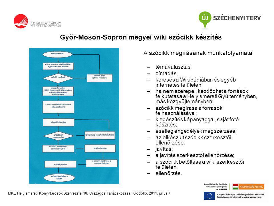 Győr-Moson-Sopron megyei wiki szócikk készítés MKE Helyismereti Könyvtárosok Szervezete 18.