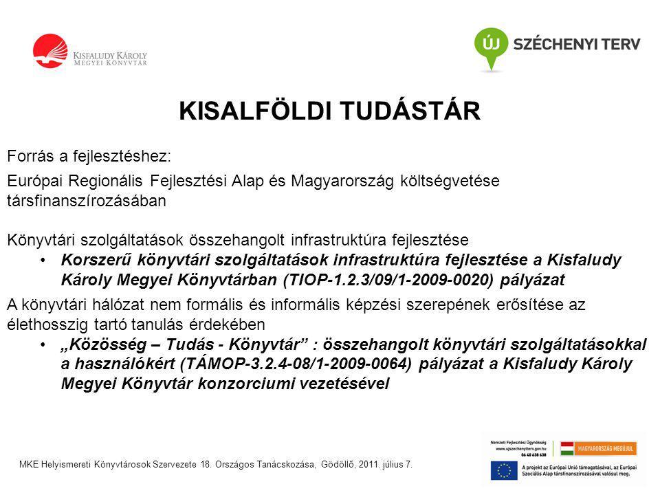 """KISALFÖLDI TUDÁSTÁR Forrás a fejlesztéshez: Európai Regionális Fejlesztési Alap és Magyarország költségvetése társfinanszírozásában Könyvtári szolgáltatások összehangolt infrastruktúra fejlesztése •Korszerű könyvtári szolgáltatások infrastruktúra fejlesztése a Kisfaludy Károly Megyei Könyvtárban (TIOP-1.2.3/09/1-2009-0020) pályázat A könyvtári hálózat nem formális és informális képzési szerepének erősítése az élethosszig tartó tanulás érdekében •""""Közösség – Tudás - Könyvtár : összehangolt könyvtári szolgáltatásokkal a használókért (TÁMOP-3.2.4-08/1-2009-0064) pályázat a Kisfaludy Károly Megyei Könyvtár konzorciumi vezetésével MKE Helyismereti Könyvtárosok Szervezete 18."""