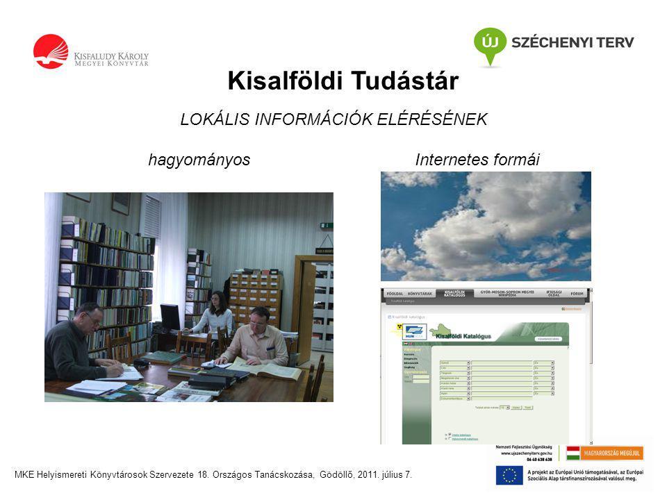 Kisalföldi Tudástár LOKÁLIS INFORMÁCIÓK ELÉRÉSÉNEK hagyományosInternetes formái MKE Helyismereti Könyvtárosok Szervezete 18.