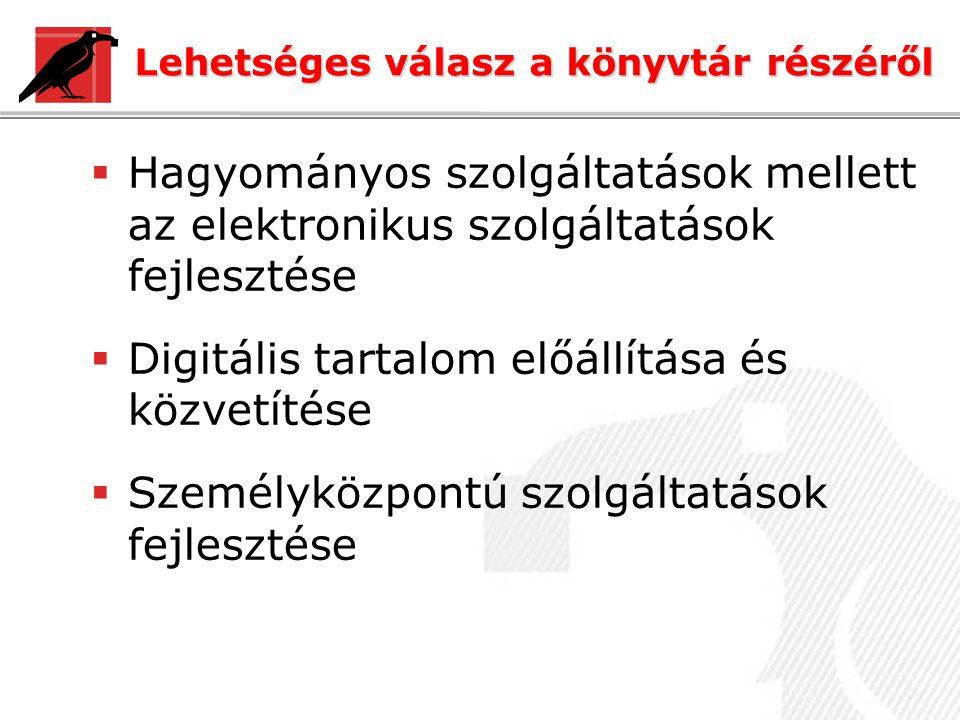 Lehetséges válasz a könyvtár részéről  Hagyományos szolgáltatások mellett az elektronikus szolgáltatások fejlesztése  Digitális tartalom előállítása és közvetítése  Személyközpontú szolgáltatások fejlesztése