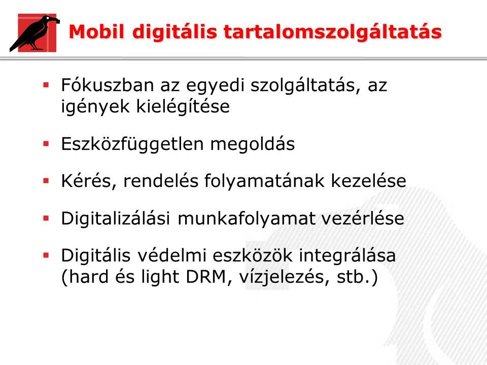 Mobil digitális tartalomszolgáltatás  Fókuszban az egyedi szolgáltatás, az igények kielégítése  Eszközfüggetlen megoldás  Kérés, rendelés folyamatának kezelése  Digitalizálási munkafolyamat vezérlése  Digitális védelmi eszközök integrálása (hard és light DRM, vízjelezés, stb.)