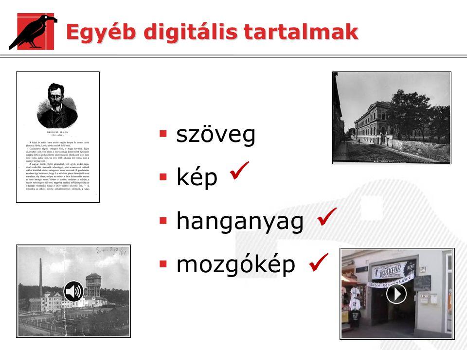 Egyéb digitális tartalmak  szöveg  kép  hanganyag  mozgókép   