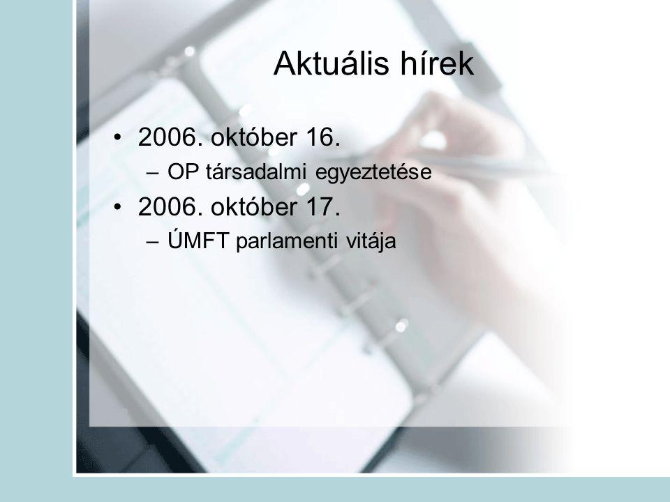 Aktuális hírek •2006. október 16. –OP társadalmi egyeztetése •2006.
