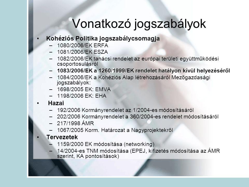 Vonatkozó jogszabályok •Kohéziós Politika jogszabálycsomagja –1080/2006/EK ERFA –1081/2006/EK ESZA –1082/2006/EK tanácsi rendelet az európai területi együttműködési csoportosulásról –1083/2006/EK a 1260/1999/EK rendelet hatályon kívül helyezéséről –1084/2006/EK a Kohéziós Alap létrehozásáról Mezőgazdasági jogszabályok: –1698/2005 EK: EMVA –1198/2006 EK: EHA • Hazai –192/2006 Kormányrendelet az 1/2004-es módosításáról –202/2006 Kormányrendelet a 360/2004-es rendelet módosításáról –217/1998 ÁMR –1067/2005 Korm.