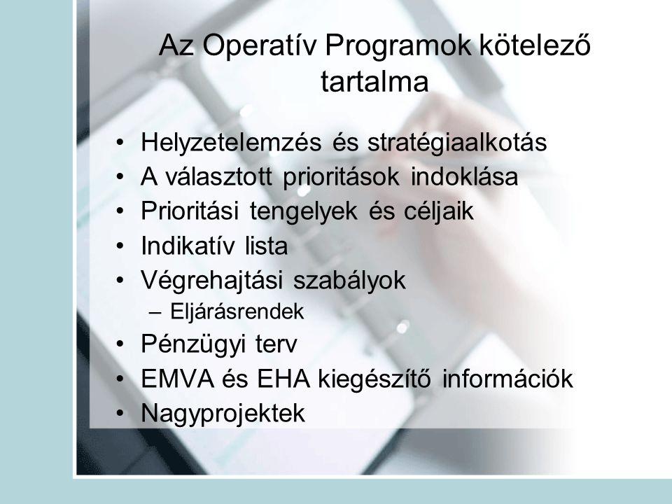 Az Operatív Programok kötelező tartalma •Helyzetelemzés és stratégiaalkotás •A választott prioritások indoklása •Prioritási tengelyek és céljaik •Indikatív lista •Végrehajtási szabályok –Eljárásrendek •Pénzügyi terv •EMVA és EHA kiegészítő információk •Nagyprojektek
