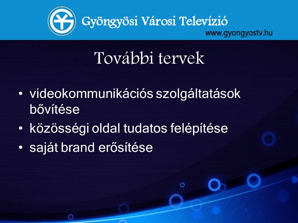 További tervek •videokommunikációs szolgáltatások bővítése •közösségi oldal tudatos felépítése •saját brand erősítése