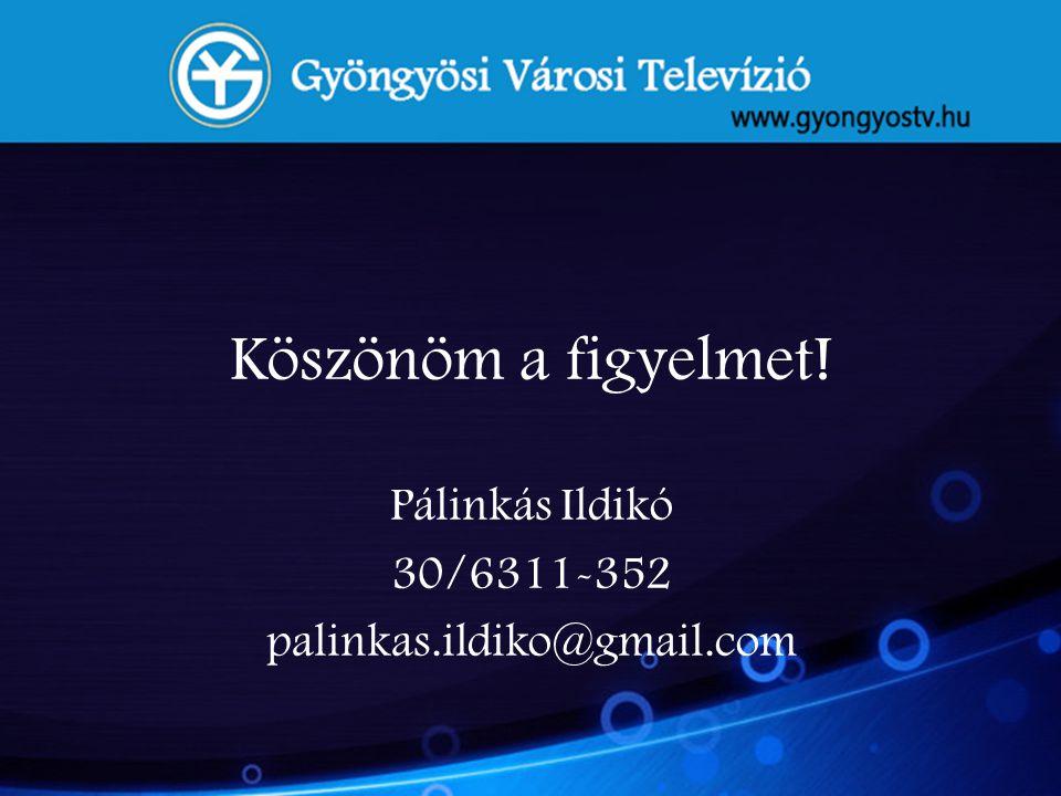 Köszönöm a figyelmet! Pálinkás Ildikó 30/6311-352 palinkas.ildiko@gmail.com