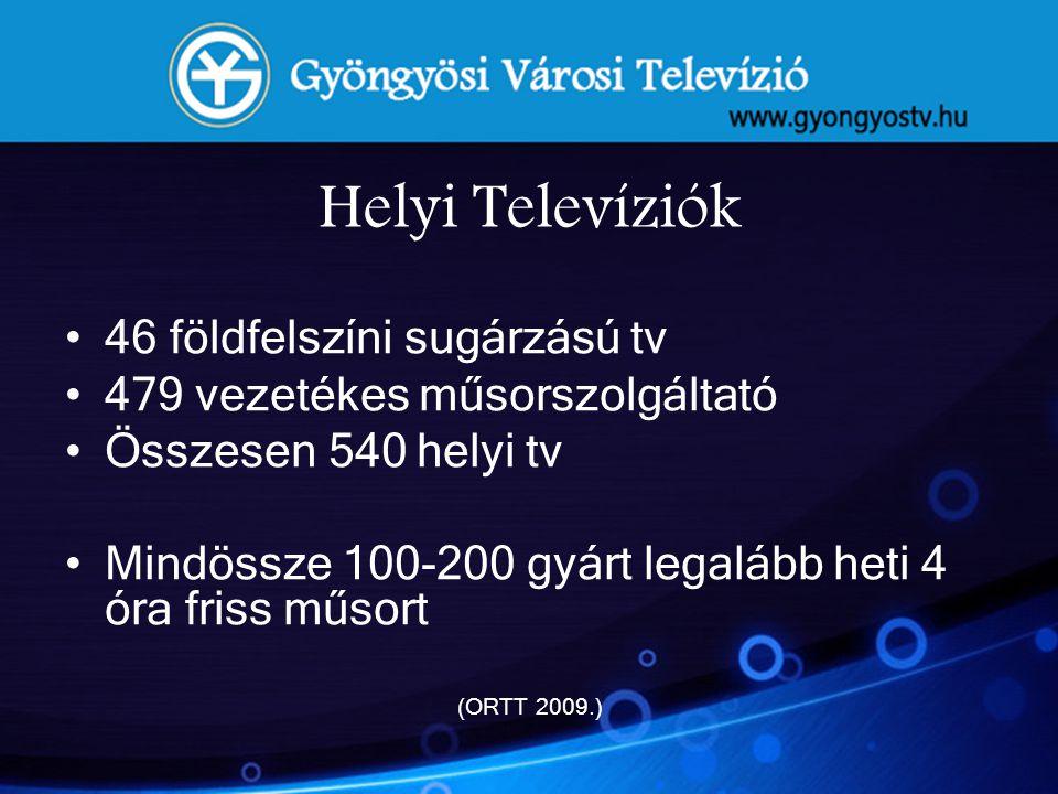 Helyi Televíziók •46 földfelszíni sugárzású tv •479 vezetékes műsorszolgáltató •Összesen 540 helyi tv •Mindössze 100-200 gyárt legalább heti 4 óra fri