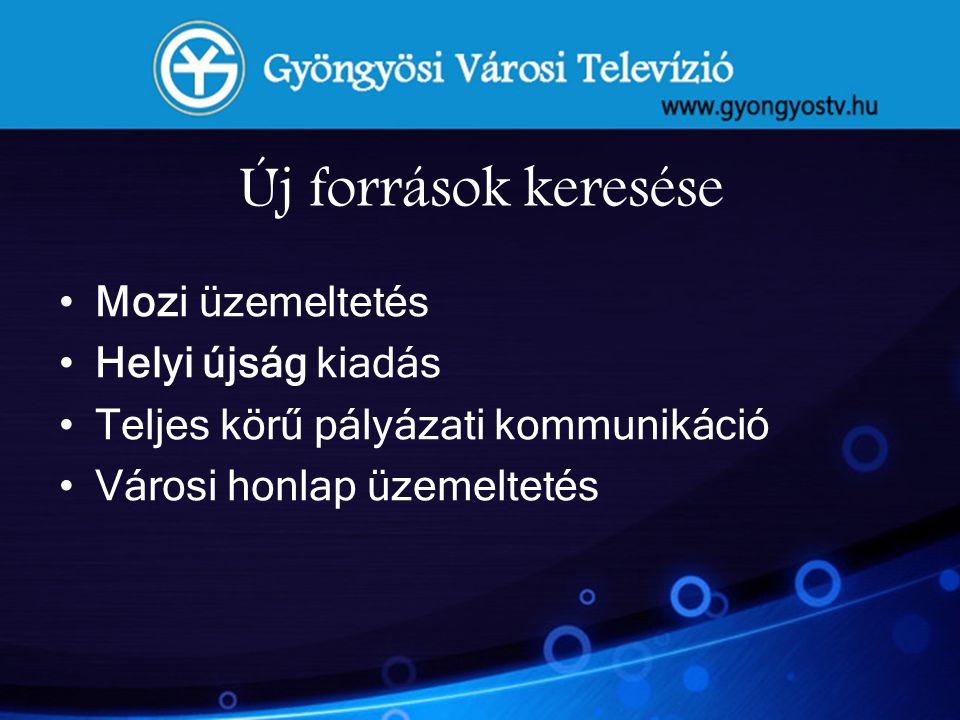 Költségvetési adatok 2010 2011 Önkormányzati támogatás:33 MFt28 M Ft Tv reklám bevétel: 22 MFt16,2 M Ft Pályázati kommunikáció: 8,8 MFt20,5 M Ft ORTT pályázat: 5,3 MFt3,7 M Ft Mozi: 39,1 M Ft52 M Ft