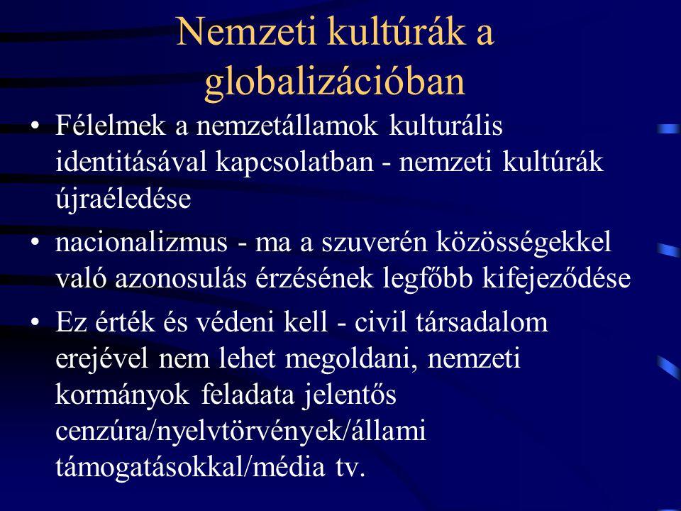 Nemzeti kultúrák a globalizációban •Félelmek a nemzetállamok kulturális identitásával kapcsolatban - nemzeti kultúrák újraéledése •nacionalizmus - ma a szuverén közösségekkel való azonosulás érzésének legfőbb kifejeződése •Ez érték és védeni kell - civil társadalom erejével nem lehet megoldani, nemzeti kormányok feladata jelentős cenzúra/nyelvtörvények/állami támogatásokkal/média tv.