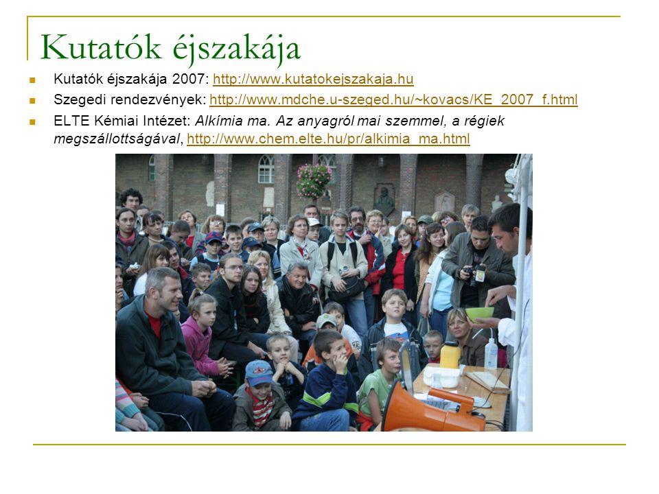 Kutatók éjszakája  Kutatók éjszakája 2007: http://www.kutatokejszakaja.huhttp://www.kutatokejszakaja.hu  Szegedi rendezvények: http://www.mdche.u-szeged.hu/~kovacs/KE_2007_f.htmlhttp://www.mdche.u-szeged.hu/~kovacs/KE_2007_f.html  ELTE Kémiai Intézet: Alkímia ma.