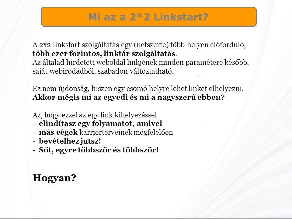 Mi az a 2*2 Linkstart? A 2x2 linkstart szolgáltatás egy (netszerte) több helyen előforduló, több ezer forintos, linktár szolgáltatás. Az általad hirde