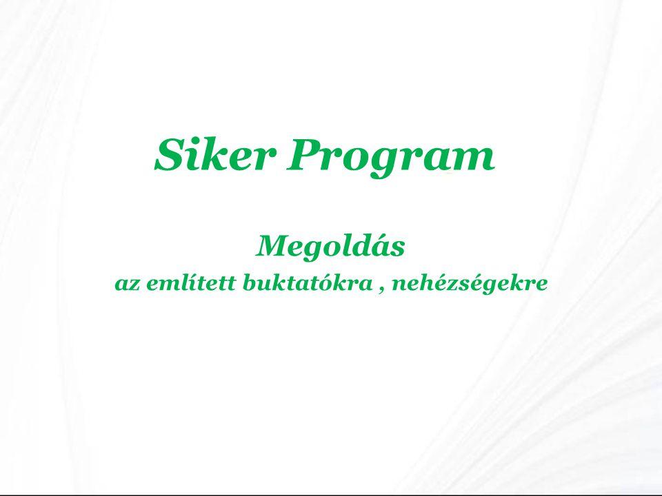 Siker Program Megoldás az említett buktatókra, nehézségekre