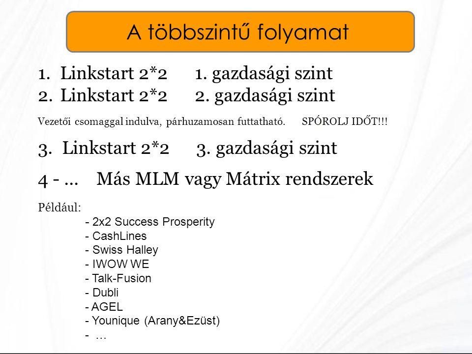 A többszintű folyamat 1. Linkstart 2*2 1. gazdasági szint 2. Linkstart 2*2 2. gazdasági szint Vezetői csomaggal indulva, párhuzamosan futtatható. SPÓR