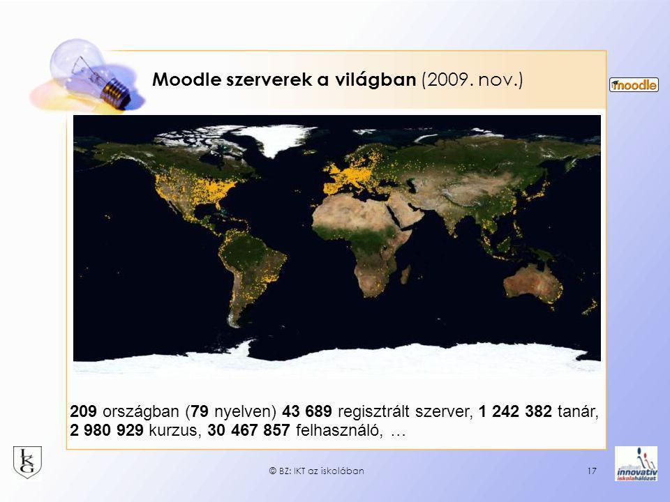 © BZ: IKT az iskolában17 Moodle szerverek a világban (2009. nov.) 209 országban (79 nyelven) 43 689 regisztrált szerver, 1 242 382 tanár, 2 980 929 ku